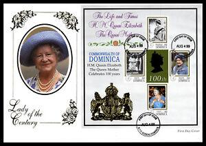 DOMINICA - 1999 Queen Mother M/S First Day Cover + Roseau Dominica FDI H/S #2