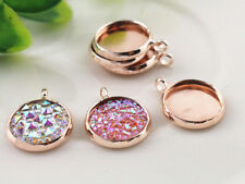 20pcs Rose Gold Plated Pendant Base | Fits 12mm Cabochons | Side Facing Bail