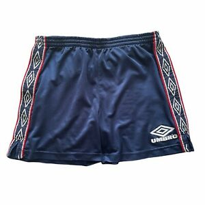 Vintage Mens 1990s Umbro Blue Red Repeat Logo Tape Shorts Size Small Waist 32