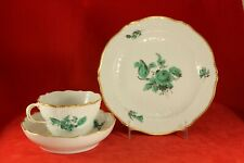 MEISSEN German Green Floral 3 Piece Trio - Cup, Saucer, Plate - Crossed Swords