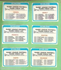 1979  SET OF 12  SCANLENS RUGBY LEAGUE  CHECKLIST CARDS,  CHECKED