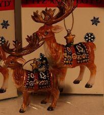 Fitz and Floyd Ceramic Christmas Lodge Deer Ornament MIB Reindeer 2002