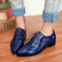 Womens Patent Leather Wingtip Low Heels Brogues Pointed Toe Lace Up Shoes Flats