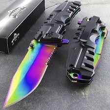 """8.5"""" Master Usa Titanium Rainbow Spring Assisted Folding Pocket Knife Edc Open"""