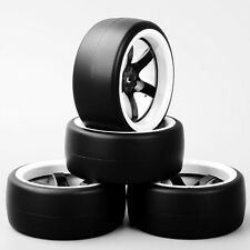 4PCS 1:10 Speed Drift Racing Slick Tire Tyre & Wheel For HSP HPI RC Car D5NWK
