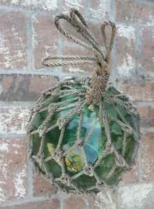 """OLD AUTHENTIC LARGE ANTIQUE GLASS FISHING FLOAT ROPE BUOY BALL 13"""" Make an Offer"""