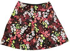 SAG HARBOR knit skirt PETITE LARGE black multi-color floral elastic waist (E306)