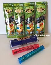 "4 PKS JUICY Flavored HEMP WRAPS - ""TROPICAL PASSION""+CIGAR ROLLER+ STORAGE TUBES"