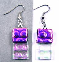 """DICHROIC Glass EARRINGS Magenta Pink Opal Clear Bubbles Dots Dangle Surgical 1"""""""