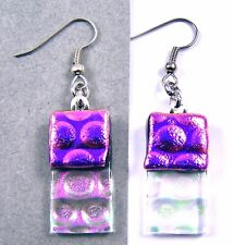 DICHROIC Glass EARRINGS Magenta Pink Opal Clear Bubbles Dots Dangle Surgical 1""