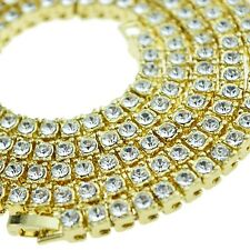"30"" Pharaoh Hip Hop Chain Iced-Out Necklace Single One Row CZ Gold Finish Bling"