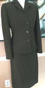 """Ann Taylor Petite"" A New Dressy Greenish Jacket Skirt Suit Lux 100% Wool Size 4"