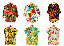 New Ladies Womens Chiffon Shirt Print Short Sleeve Blouse Casual Tops