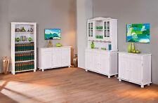 Vaisselier bahut buffet commode rangement meuble cuisine vitrine pin BLANC