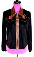 Sheryl Crow NWT Size S Embroidered Jacket Zip Front Black Brown Faux Leather Tri