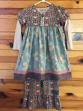 Matilda Jane Maggie Stew Dress & Disco Big Ruffles Pants HTF Gypsy Blue Girls 8