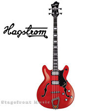 HAGSTROM VIKBWCT SEMI-HOLLOW VIKING ELECTRIC BASS GUITAR IN WILD CHERRY. w/CASE