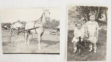 Antique RPPC Real Photo Postcards Lot of 2 Horse & Buggy Children on Toy Trike