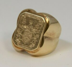 14K Gold Men's Signet Ring with Jenkins Ireland Family Crest 14 grams (LMS)