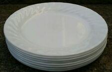 "Set of 8 Corelle Enhancements White Swirl 7 1/4"" Dessert Bread & Butter Plates"