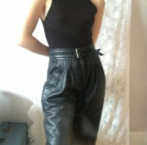 Women's vintage black leather trousers size 12