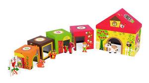 NEW Janod MultiKub Farm, wooden animals nesting houses, toddler preschool 12 mo+