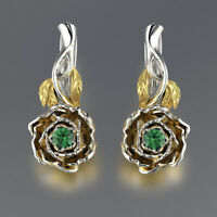 Women Flower Two Tone Gold 925 Silver Emerald Hook Drop Dangle Earrings Jewelry