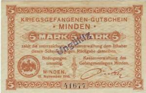 POW NOTE GERMANY---MINDEN -- 15 NOVEMBERV1916 --  5  MARK //829
