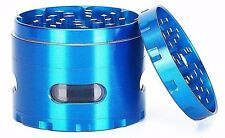 Tobacco Herb Aluminum 4 Layers Grinder 2.2 Inches Comes Scraper In Blue Color