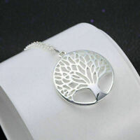 Halskette Frauen Baum Silber Blätter Hohl Kettemit Anhänger Geschenk Neu Sa F1V3