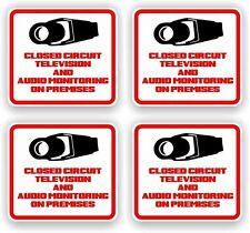 Security Decal - #205 4 Pack Video & Audio Cctv Security Surveillance Camera