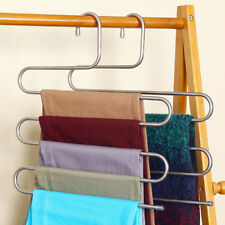 Useful Pants Trousers Hanging Clothes Hanger home 5 Layers Space Saver Neat room