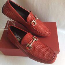SALVATORE FERRAGAMO Red 9D braided PARIGI BIT Driving Moccasin Shoes AuthenNEW