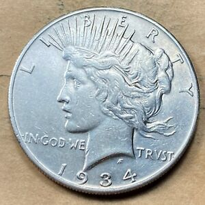 1934-S Peace Dollar  AU/UNC