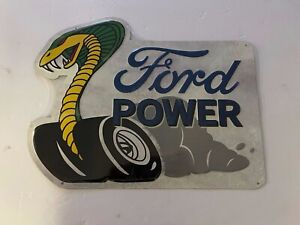 Ford Power Cobra Embossed Metal Tin Sign Car Vintage Garage Auto Licensed New