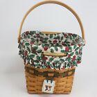 Longaberger 1998 Glad Tidings Hanging Christmas Collection Basket w/Liner & Tag