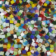 270Pcs Colorful  Square stained Glass Mosaic Tiles, 10X10mm , 200g/Pack