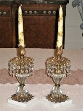 Vintage Hollywood Regency Crystal Marble Brass Candlesticks - Original Candles