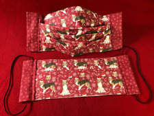 Adult Red Collie Sheltie Small Print Santa Hat Star Trim Face Masks 100% Rescue
