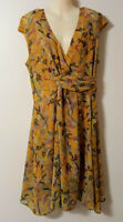 PINK RUBY Yellow Floral Wrap Bodice Dress 16 Fit & Flare Cap Sleeve Ruched Belt