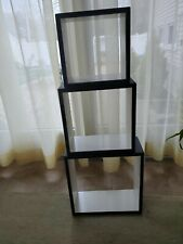 Complete set of 3 leather square wall decor/shelves