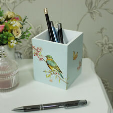 Bird floral pen pencil pot tidy caddy shabby vintage chic desk top storage gift