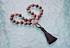 27+1 Beads, Rhodonite,Rudraksha Pocket Mala Beads, Knotted Quarter Mala Beads