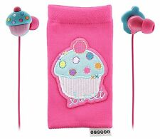 Cupcake Kitsound Universal Smartphone Cover Sock & Earphone Buds Noise Isolation