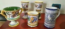 Lotto 5 pz.calice boccali vasi ceramica Deruta vintage
