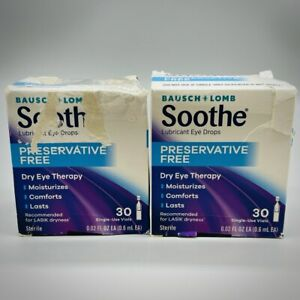 Bausch & Lomb Soothe Lubricant Eye Drops Preservative Free 30 Vials 2PK 12/21+
