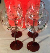 "4 Pflatzgraff Wine Goblets Glasses Winterberry New W Box 8.5"" Christmas"