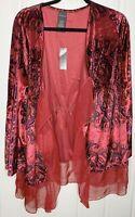Covington Size XL Womens Red Purple Velvet Graphic Print Velvet Shrug Jacket NWT
