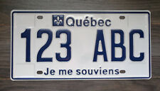 Quebec Sample 123 ABC License Plate Je Me Souviens