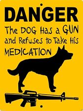 2 Australian Kelpie Aluminum Dog Sign Danger 9 x 12